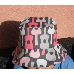 """Bob pour enfant chapeau de soleil """" Rock 'n roll """" rose, gris, blanc"""