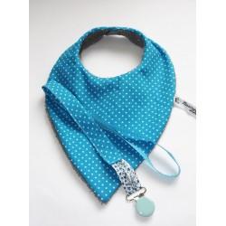 Bavoir bandana et attache tétine assorti - cadeau de naissance.