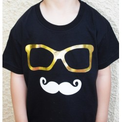 """Tee-shirt personnalisé """" Mister Moustache à mis ses lunettes"""" pour enfant"""