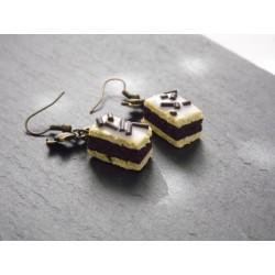 Boucles d'oreille cake moelleux chocolat -bijoux gourmands