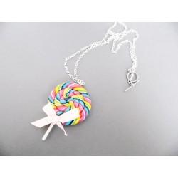 Sautoir sucette lollipop arc en ciel