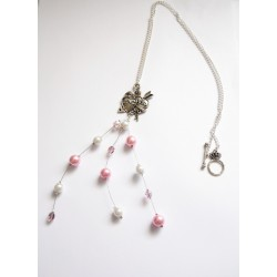 "Sautoir pendentif ""Love You "" perles rondes blanches et roses"