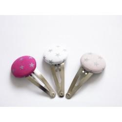 Barrettes x3 étoiles argentées, rose, fuchsia, blanc