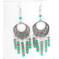 Boucles d'oreille pendantes perles de verre turquoise / marron