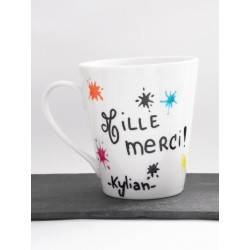 "Mug taches d'encre "" Merci "" - Cadeau maîtresse , atsem ."
