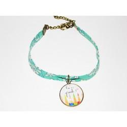 """Bracelet liberty Capel bleu """" Tu es géniale """" - cadeau maîtresse atsem ou une super nounou"""