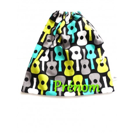 """Sac à chaussons, doudou """" Rock N' Roll"""" maternelle"""