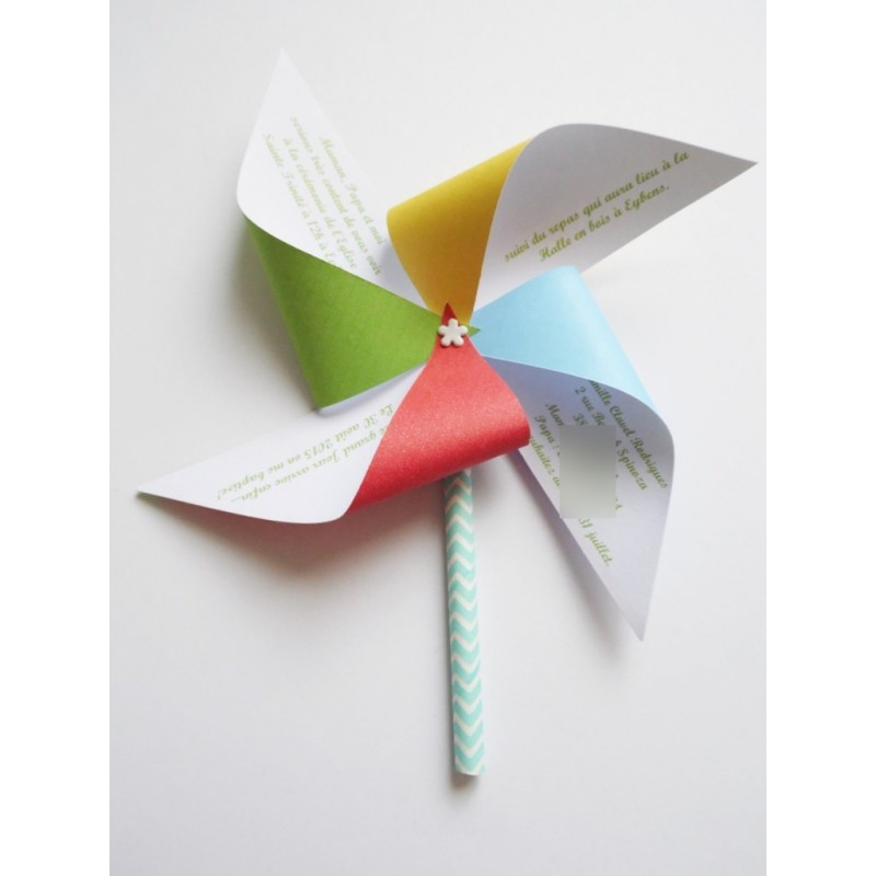 Faire part moulin vent ailes multicolores pour bapt me nessygan - Faire un moulin a vent ...