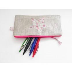 Trousse en lin argenté et étoile Liberty - Trousse crayons ou maquillage