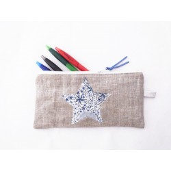 Trousse en lin argenté et étoile bleue Liberty - Trousse crayons ou maquillage