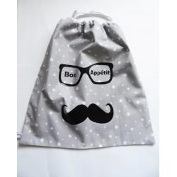 """Serviette élastiquée de table """"Mr. Moustache à mis ses lunettes"""" pour enfant"""