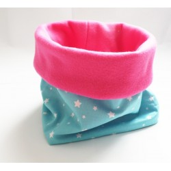 """Col snood bleu turquoise et rose """" Poussière d'étoiles """" pour enfant"""
