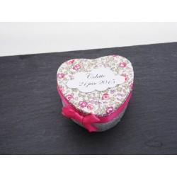 Boîte dragées Liberty Eloïse blanc rose pour un baptême, mariage, communion