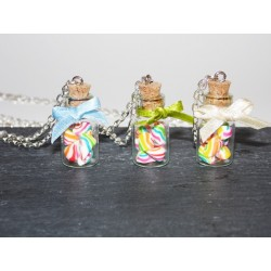 Sautoir fiole en verre bonbon berlingots - bijou gourmand
