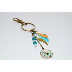 Porte-clés Butterfly & perles de verre turquoise