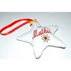 """Etoile de Noël blanche """" Flocons de neige """" à suspendre par un prénom"""