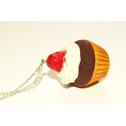 Sautoir cupcake chantilly & framboise