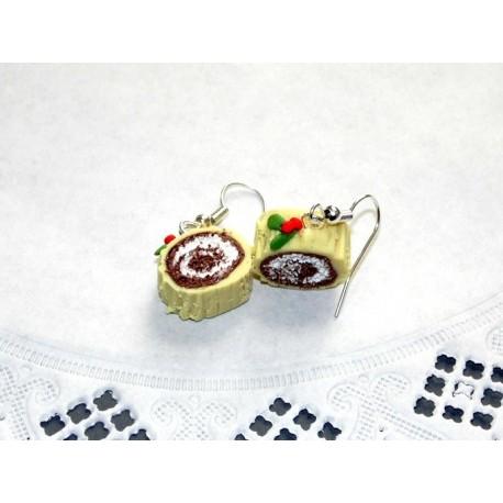 Boucles d'oreilles bûche de Noël vanille & chocolat
