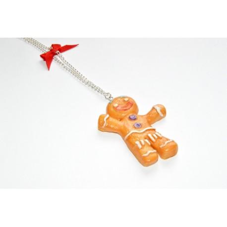 Collier Ti biscuit de Noël avec nœud en satin rouge