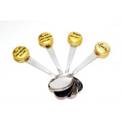 Petite cuillère personnalisée macaron or - cuillère à thé, café , dessert
