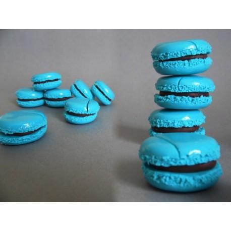 Marque-place macaron turquoise et macaron chocolat