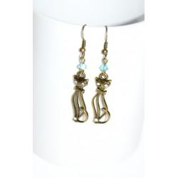 Boucles d'oreille chats perles et strass Swarovski