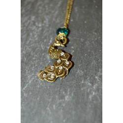 Collier Paon strass Swarovski et perle de verre turquoise
