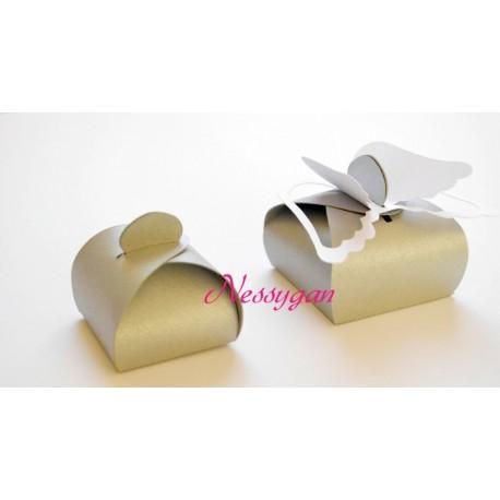 Boîte à dragées argentée & ailes d'ange