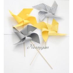 Moulin à vent jaune ou gris - décoration baptême, mariage