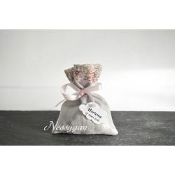 Pochon pour dragées en lin lamé & Liberty Eloïse rose