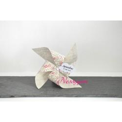 Boîte à dragées Moulin à vent Liberty Eloïse rose thème candy bar
