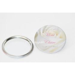 Miroir de poche personnalisé avec une rose blanche