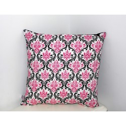 Coussin déco baroque arabesques roses et noires