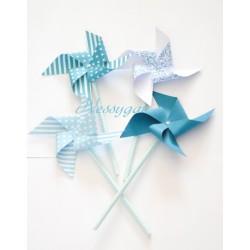 Moulins à vent x 4 nuances de bleus pour un baptême