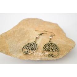Boucles d'oreille Arbre de vie avec perle Swarovski