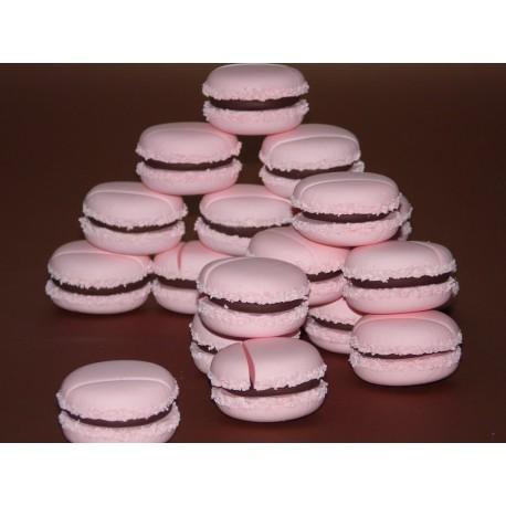 Marque-place macaron rose pastel & chocolat