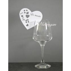 """Marque-place cœur """" Love"""" verre pour mariage"""