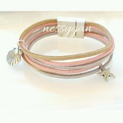 Bracelet suédine rose, argenté, or