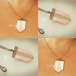 Collier chevron rose poudré & or