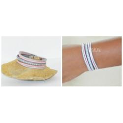 Bracelet cuir strass Swarovski & suédine