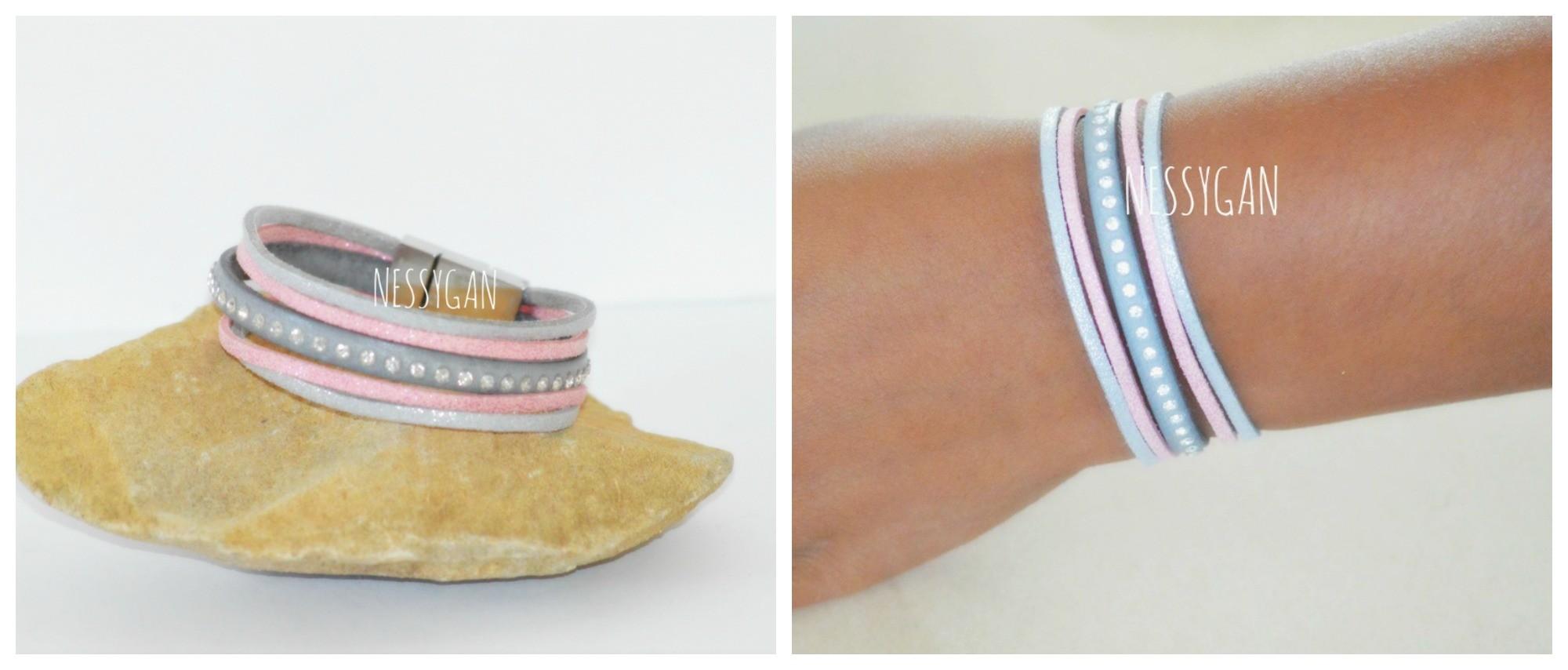 Bracelet cuir strass Swarovski   suédine - Nessygan 60f1079d8e6a