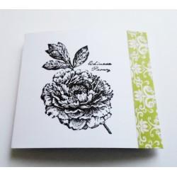 Faire-part de mariage blanc & vert avec une pivoine - carte invitation mariage
