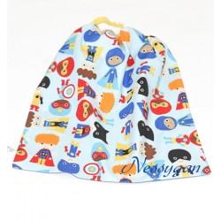 """Serviette de table élastiquée maternelle """" Super kids"""" fond bleu"""