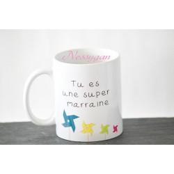 """Mug personnalisé moulin à vent """"Tu es une super marraine"""""""