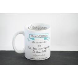 "Mug personnalisé bleu "" Super marraine """