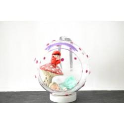 """Boule de Noël XL """"Bébé et le petit lutin"""" personnalisée par un prénom"""