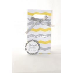 Boîte à dragées chevrons jaune et gris
