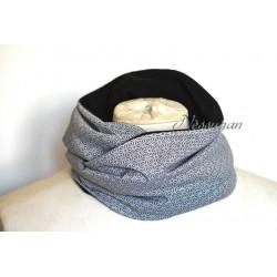 Snood pour femme tissu japonnais gris double tour