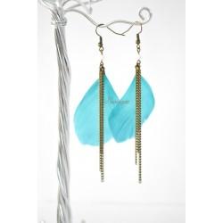 Boucles d'oreille plume bleue turquoise et perles Swarovski