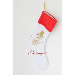 Botte de Noël blanche avec bonhomme de neige or.